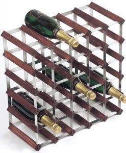 Wijnrekken van hout en staal voor 30 flessen