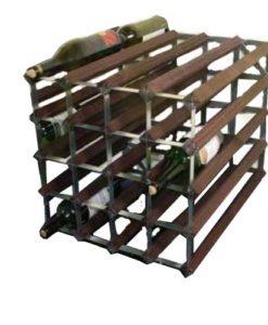 Wijnrekken van hout en staal voor 40 flessen